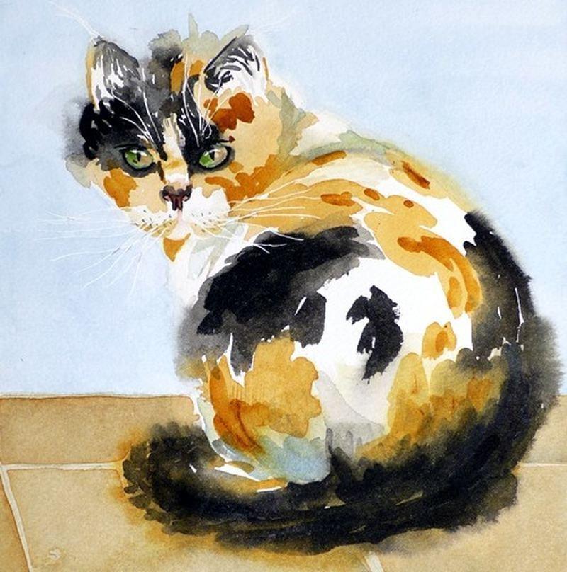 Рисунки кошки поэтапно гуашью помощь