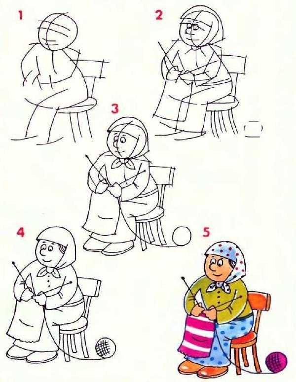 Что нарисовать бабушке открытку карандашом поэтапно