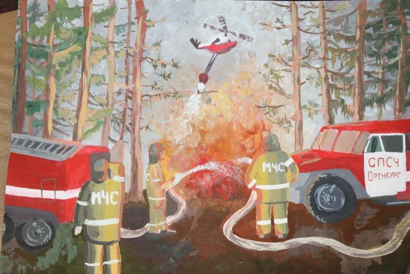 сил, рисунок на тему пожарные тушат пожар добавленном