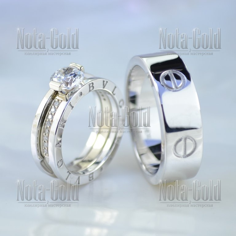 9e87cad00dfb Парные обручальные кольца копии известных брендов из белого золота с  бриллиантами (Вес пары  18