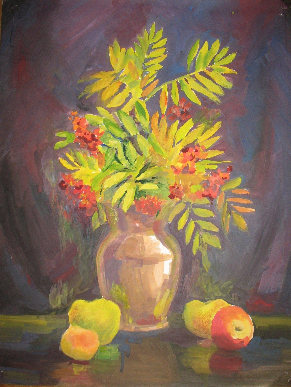 листья в вазе рисунок гуашью купе диагональный это
