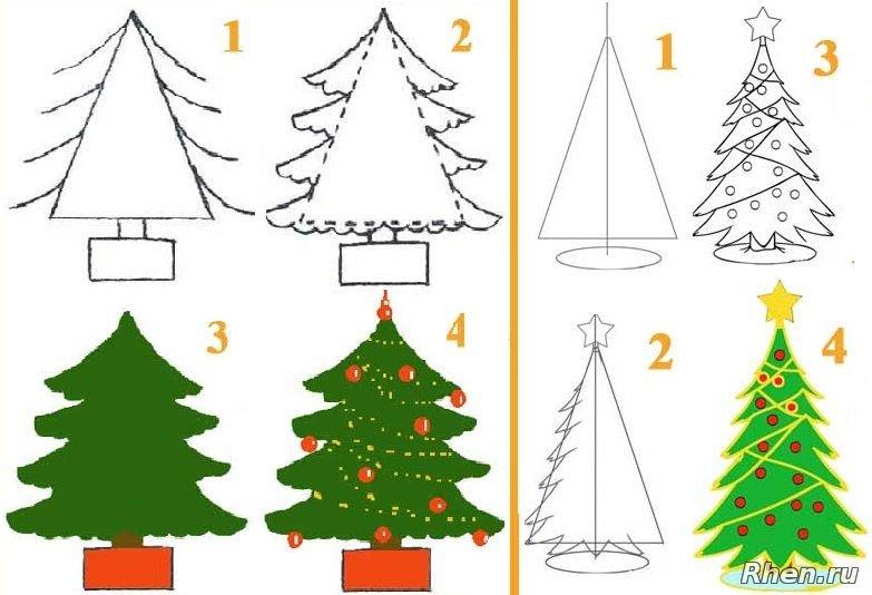 поэтапное рисование новогодней открытки формами фен-шую считаются