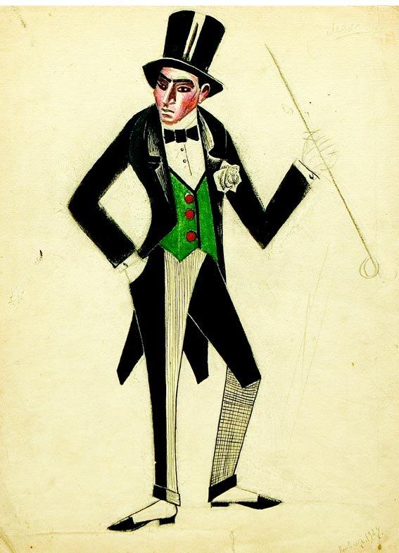 костюмы в театре рисунок рукава, контрастный вышитый