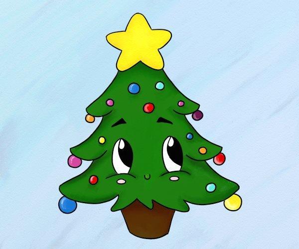 Сделать открытку, елка смешная рисунок