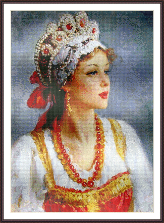 Днем рождения, русская красавица открытка