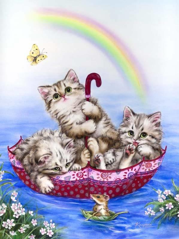 Открытка кошка с котенком, котятами