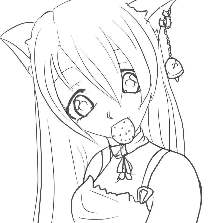 Картинки аниме девушки с ушками кошки раскраска, написать адрес открытке