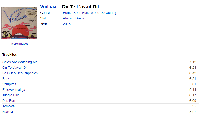 Voilaaa - On Te L'avait Dit ...   Releases, Reviews, Credits   Discogs S1200