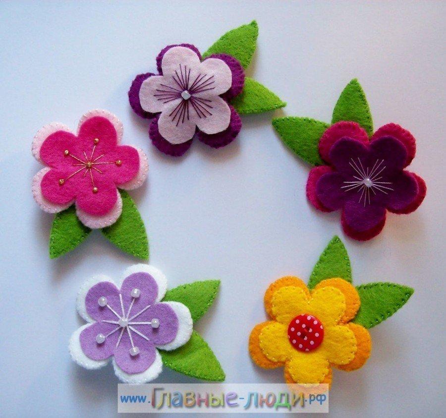 Цветы из фетра для открыток
