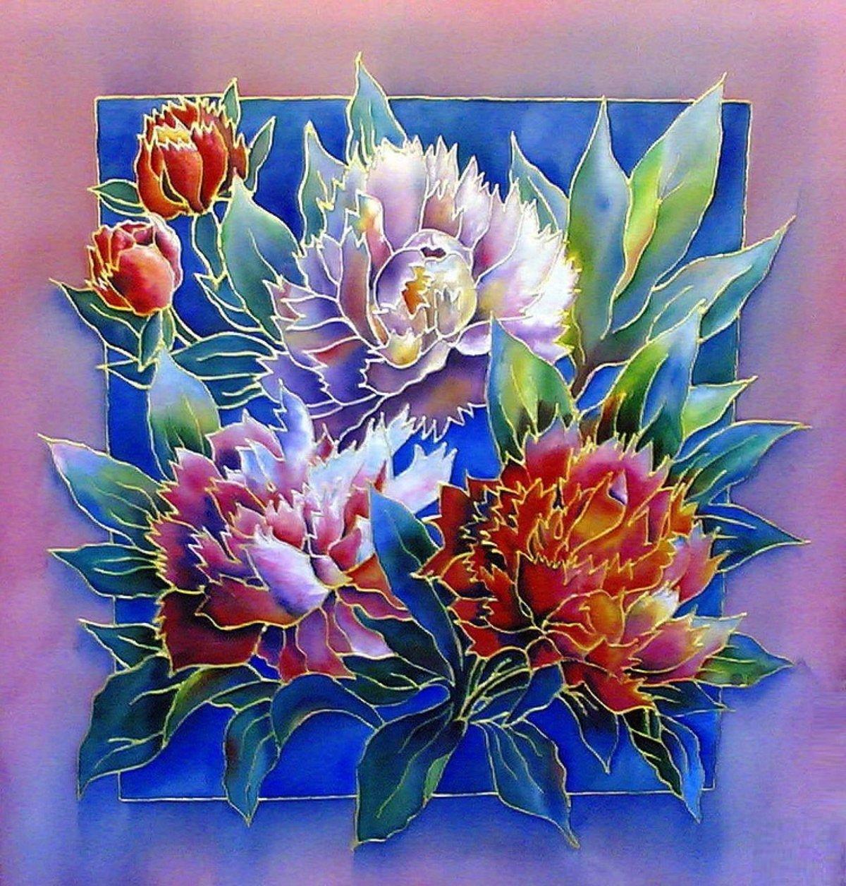 Батик фото цветы