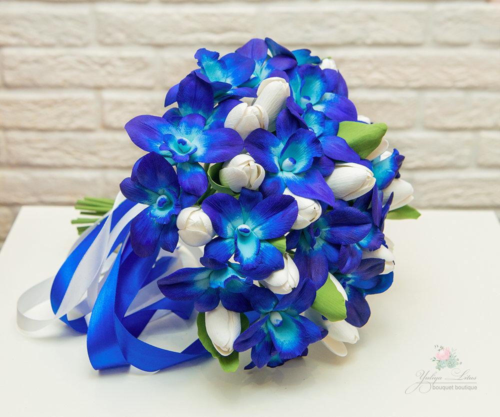 Цветы свадебный букет из синих орхидей фото букет дзержинск семена