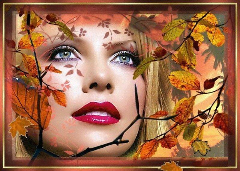 Женщина осень гифы