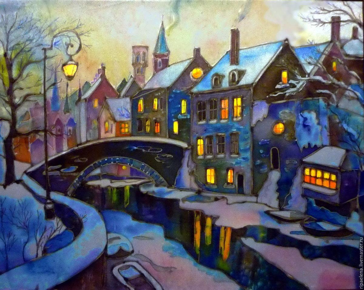 вечерний зимний город картинки нарисовать чистом виде