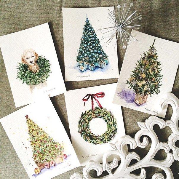 Доброе утро, рисуем открытки на новый год акварелью