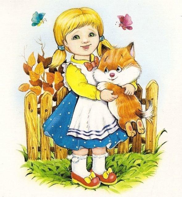 Девочка с кошечкой картинки нарисованные