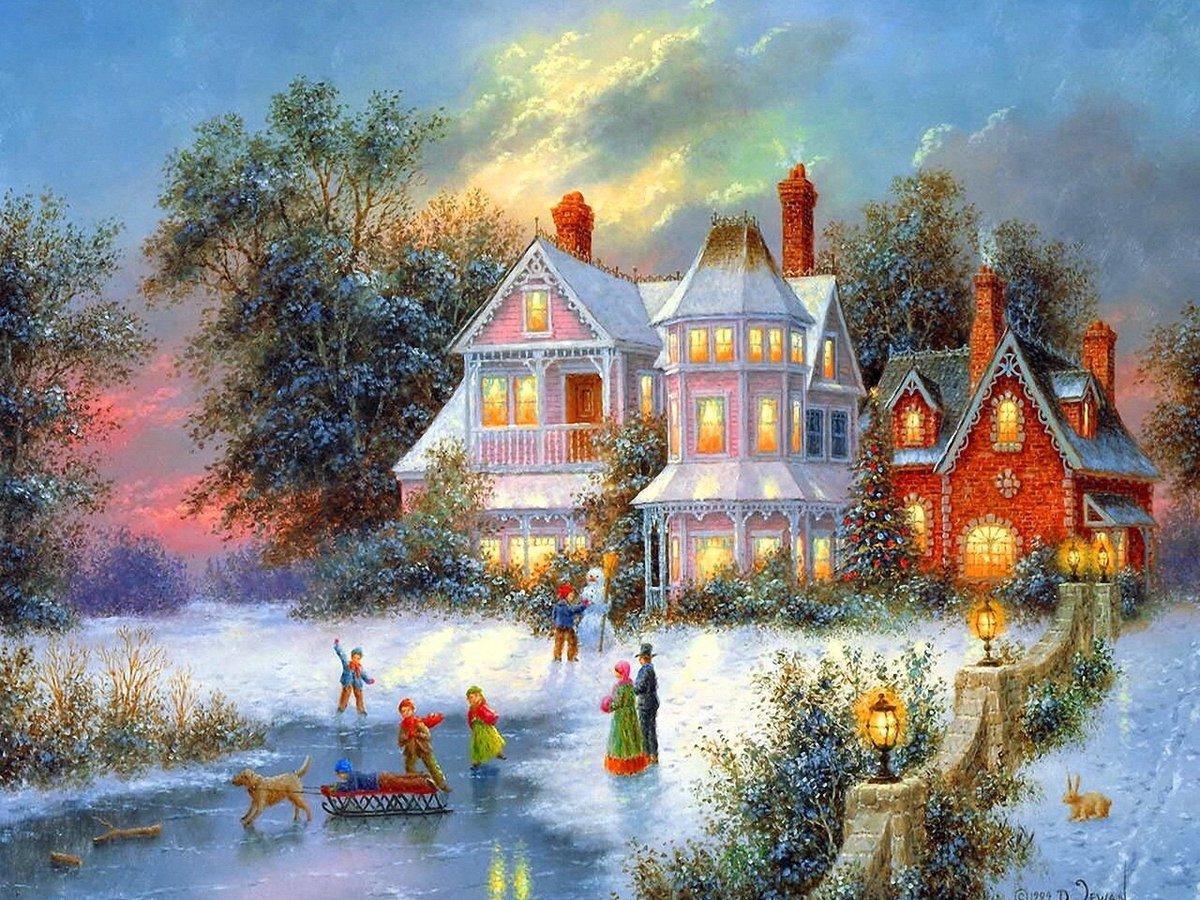 Картинки с красивыми новогодними пейзажами, открытка днем рождения