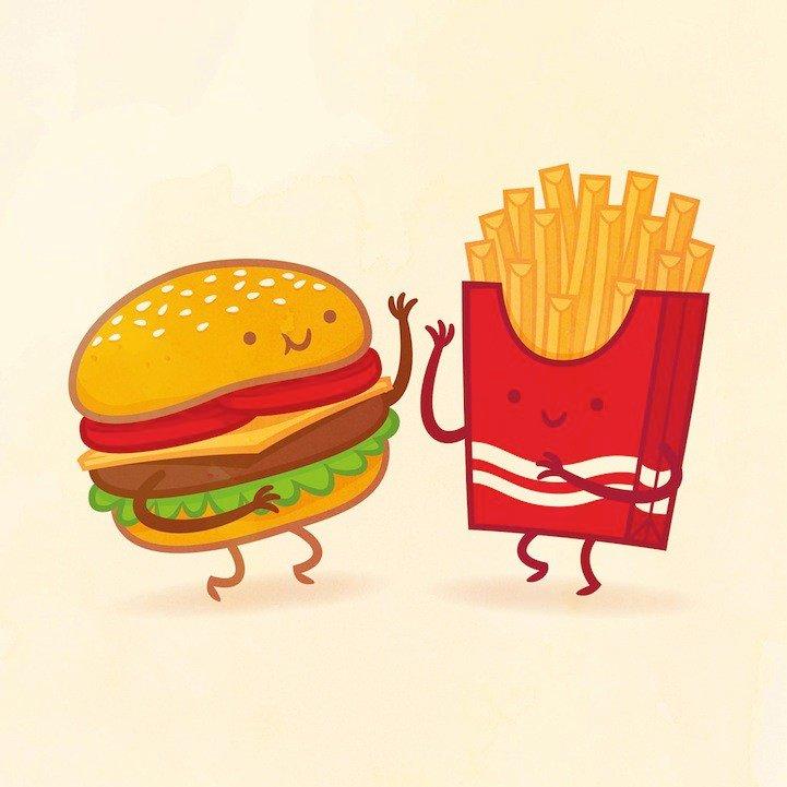 Рисунки прикольная еда, праздник