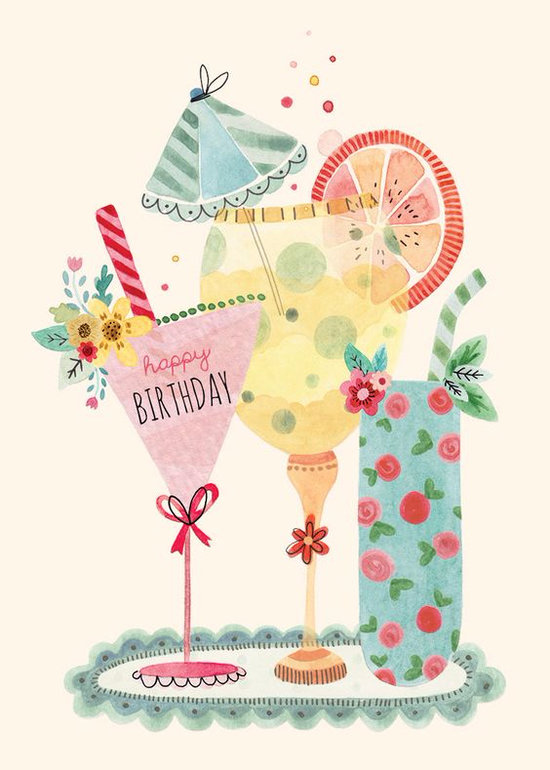 Рисованные картинки с днем рождения для женщины