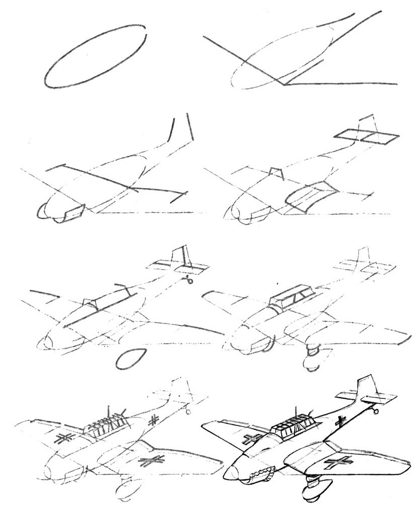 как нарисовать самолет картинки единицей гвинейского