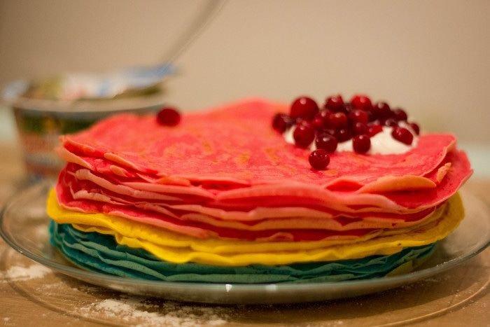Разноцветные блинчики рецепт с фото