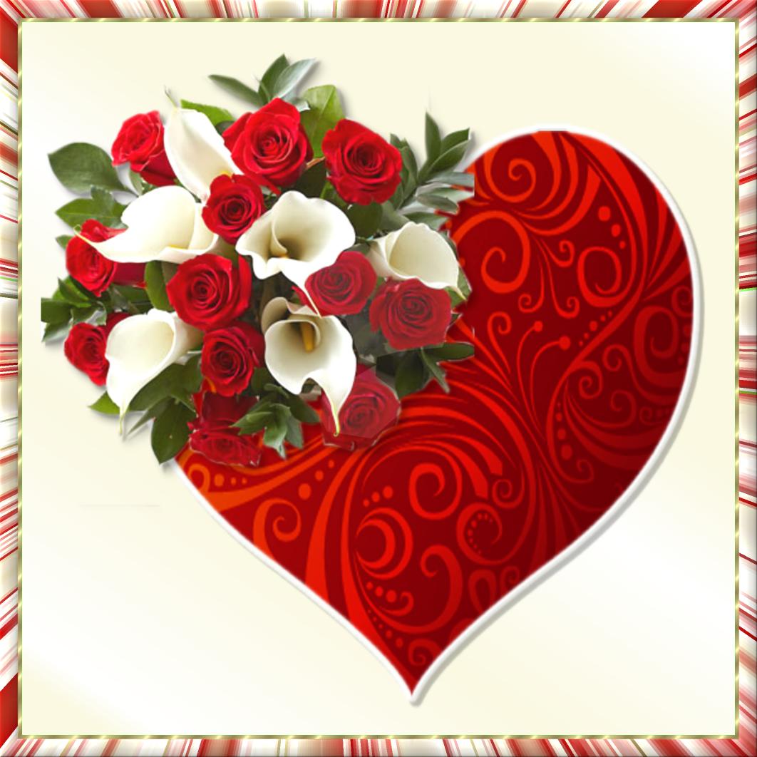 Открытка сердце с цветами
