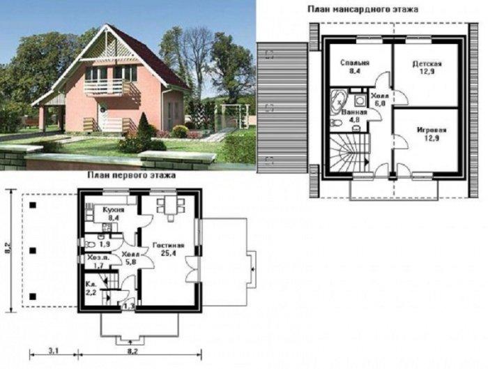 план двухэтажных домов из пеноблоков