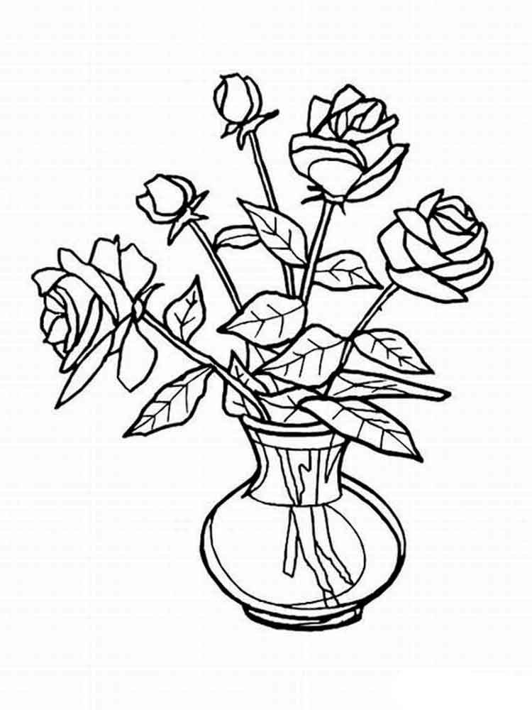 Раскраска цветов в вазе, картинки номерам открытки