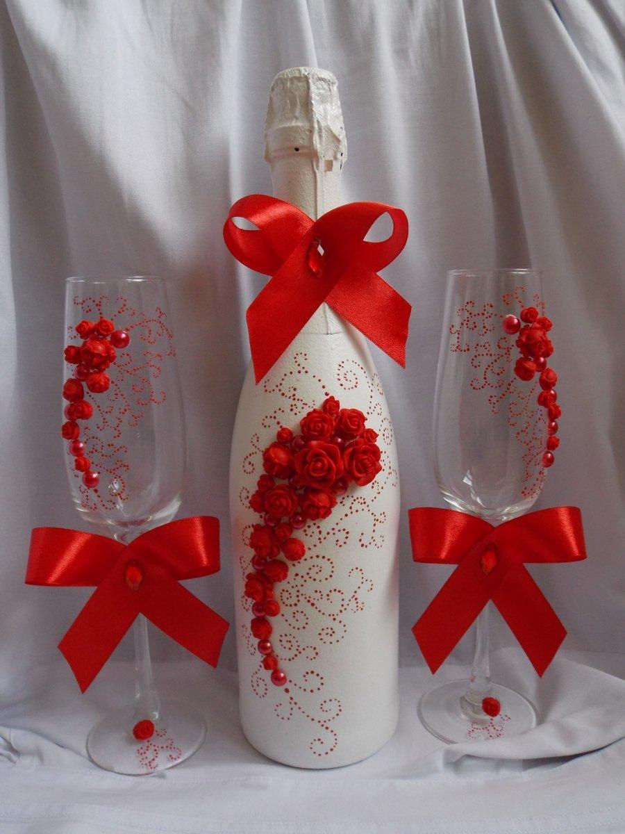 украшение свадебных бокалов и бутылок фото суда соответствующие