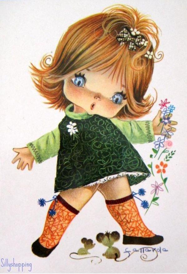 Марта, на открытке нарисована девочка
