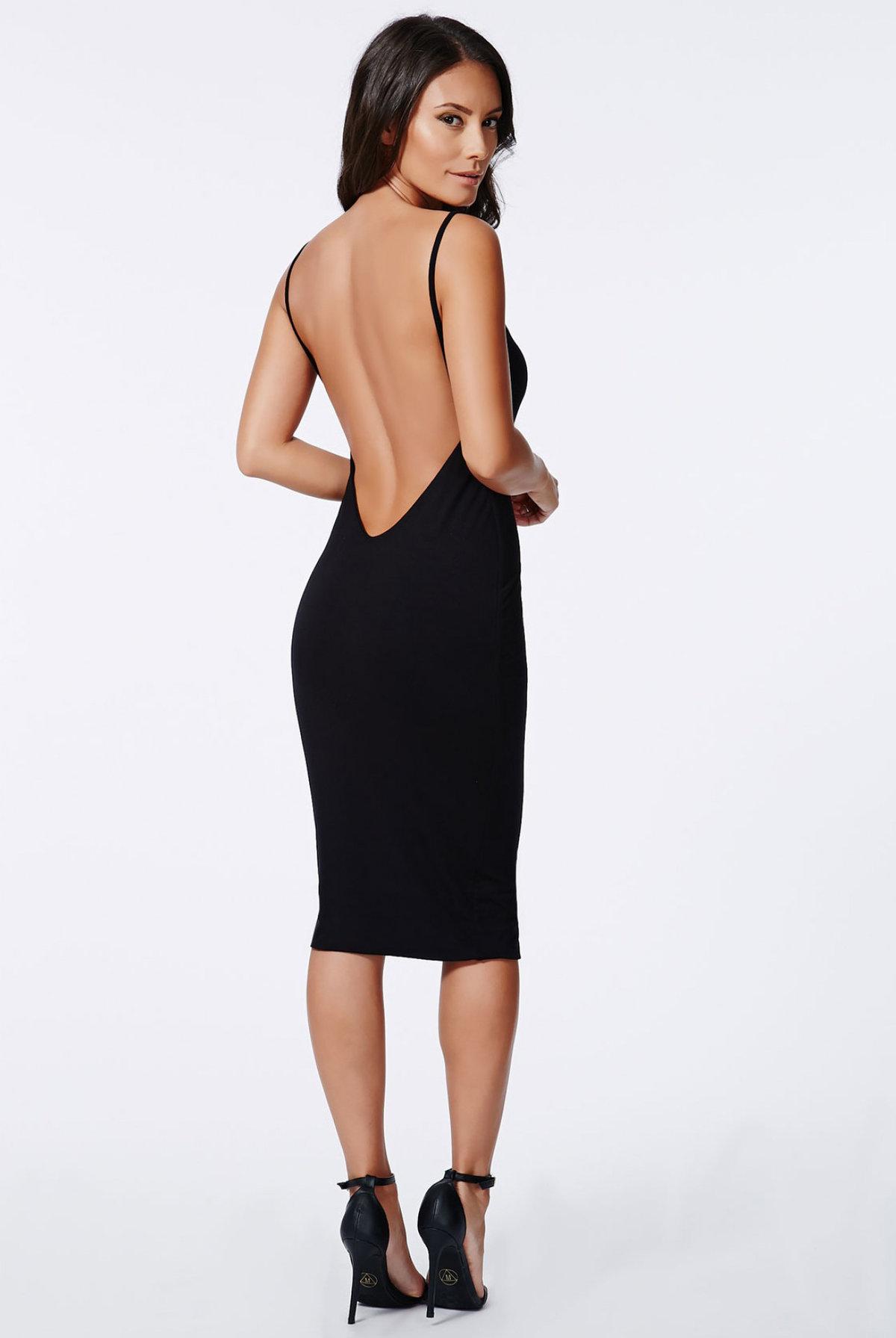 9f3054a50d8 Черное платье миди на бретельках и с открытой спиной