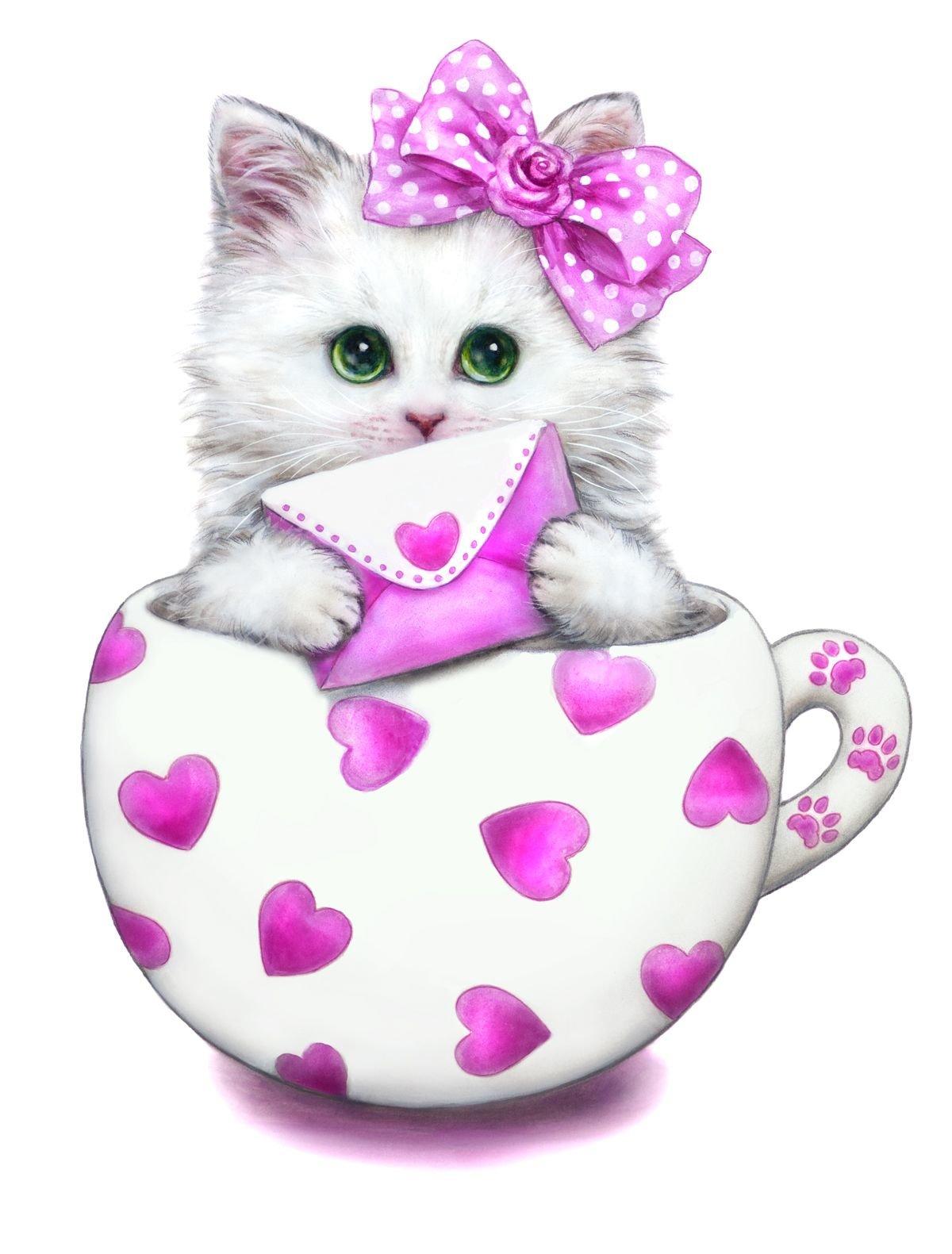 Открытки с сердечками и котятами, факты животных