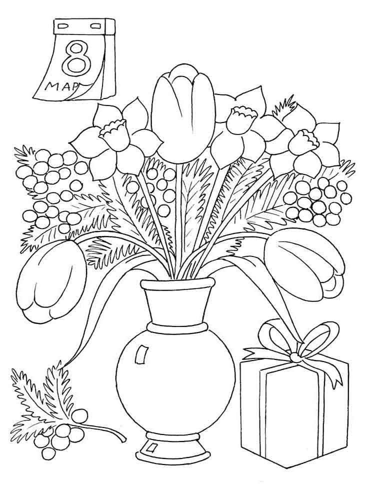 Раскраски к 8 марта для детей 6-7 лет распечатать, открытки ночи