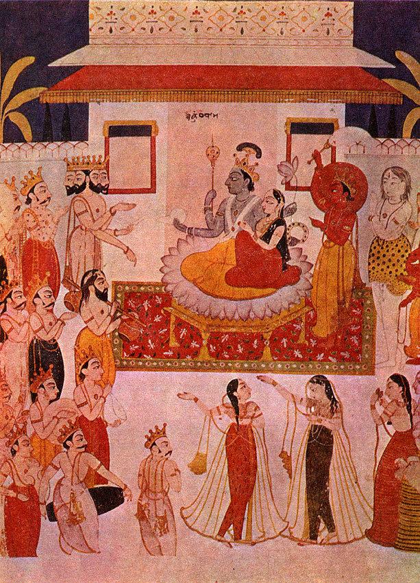 Небесное царство Вишну. Индийская миниатюра. Раджастхаиская школа, XVIII в.