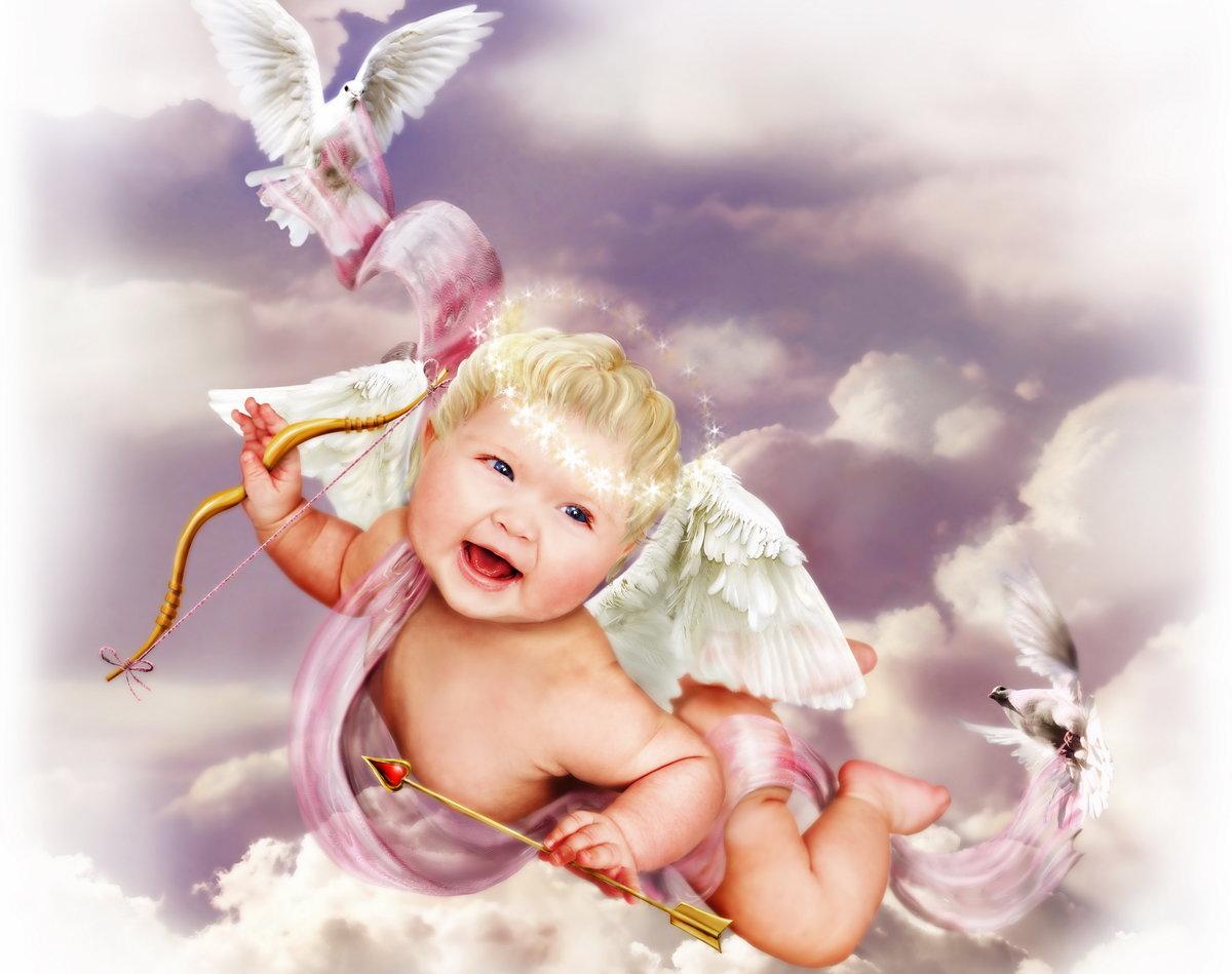 Картинка с днем рождения с ангелочком