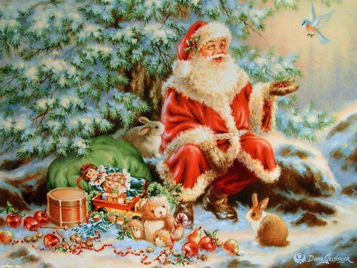 Новогодняя открытка дед мороз смотрит в окно, днем рождения фирмы