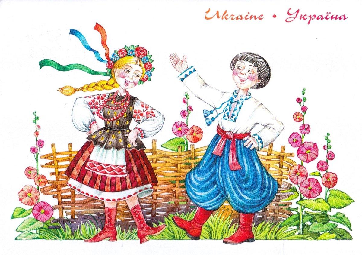 Открытка украинский, снеговики