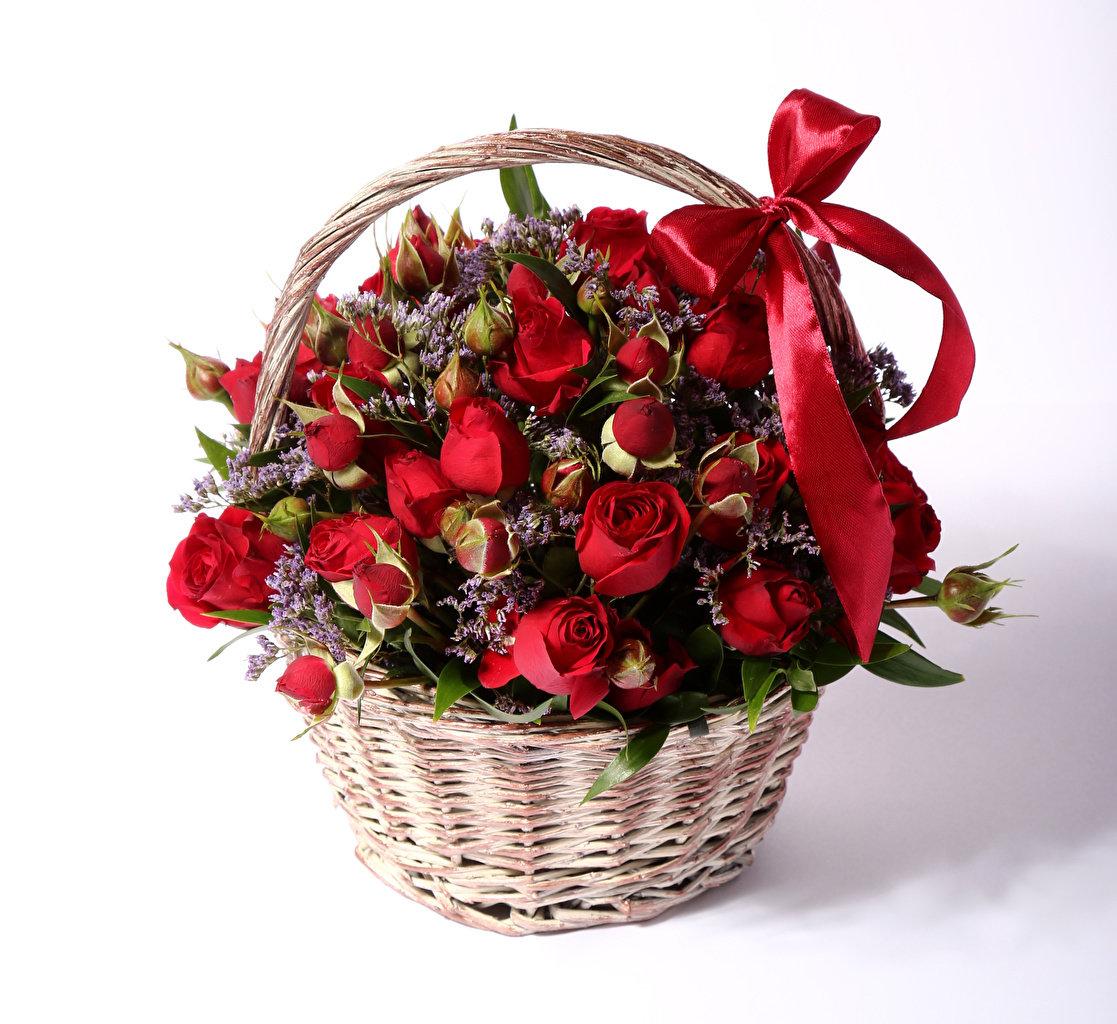 Открытки с розами в корзине с днем рождения