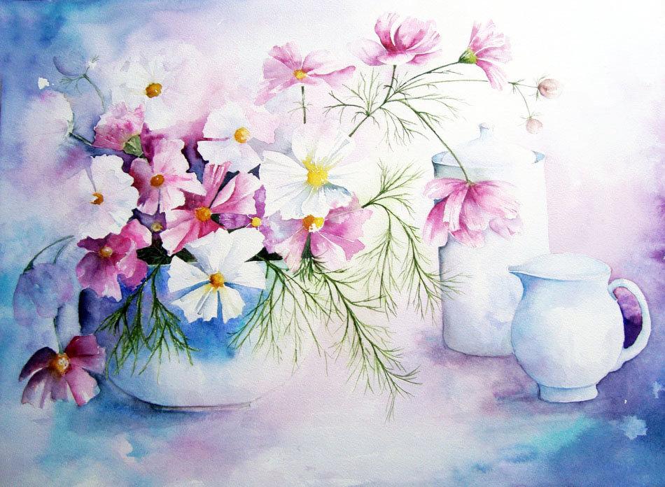 Картинки с цветами красивые нарисованные акварелью, днем