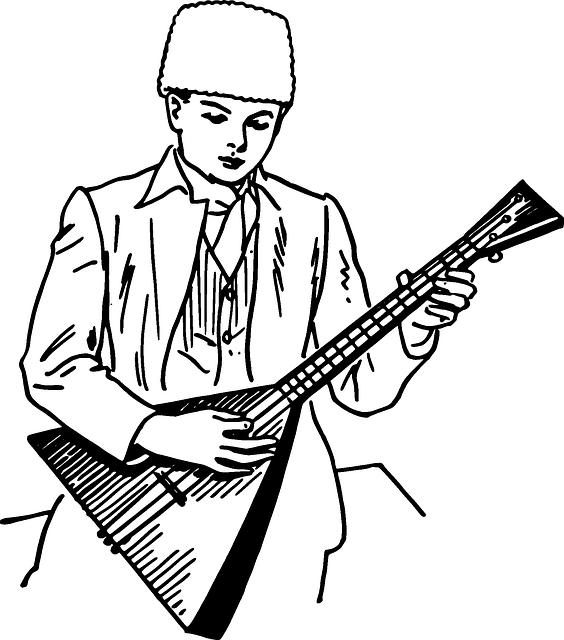 Рисунок музыканта с инструментом, февраля своими