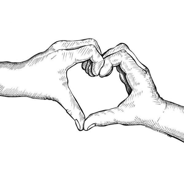 Картинки черно белые для распечатки любовь