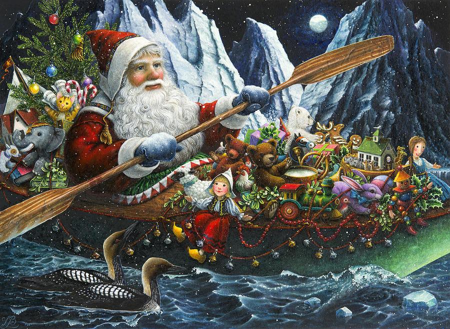 Дед Мороз на лодке