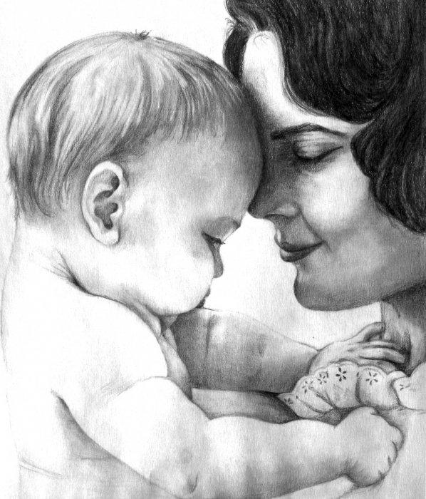 С любовью маме картинка карандашом