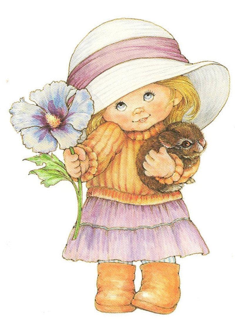 Открытка девочка с цветами рисунок, картинки про