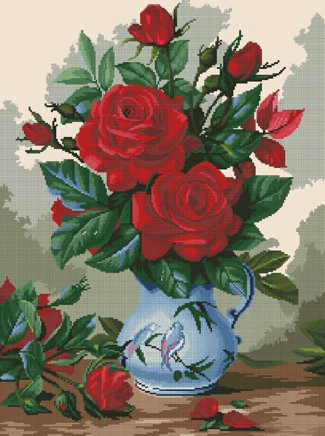 Букет цветов для вышивки крестом в картинках