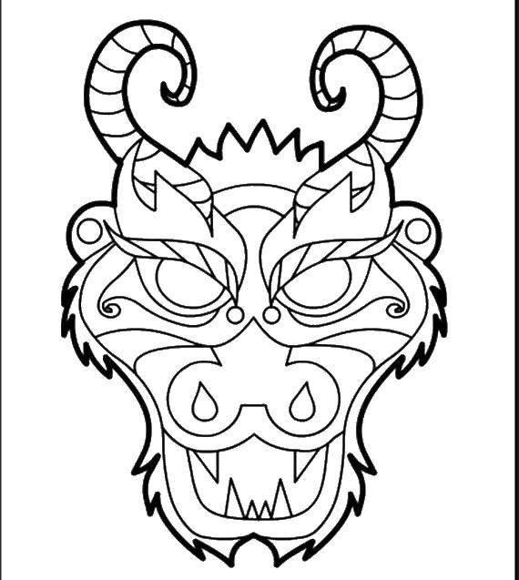 « Раскраска Маска дракона » — карточка пользователя Елена ...