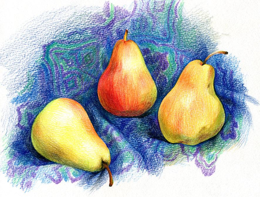 яблоко и груша картинки карандашом кровати более двух