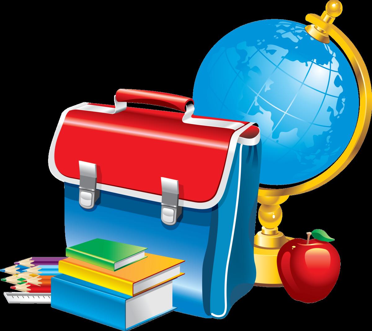 школьная картинка глобус портфель учебники карандаши