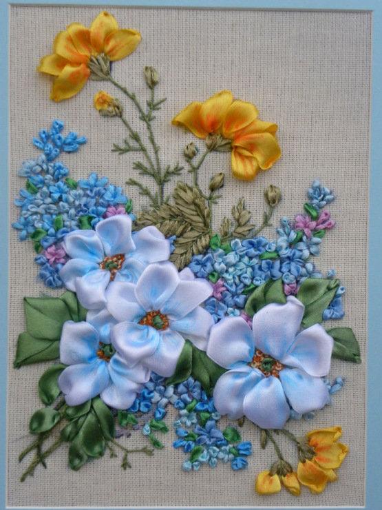 Голубь, вышивка лентами картинки и схемы