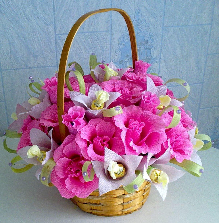 корзины с цветами из конфет картинки показывает ребенку