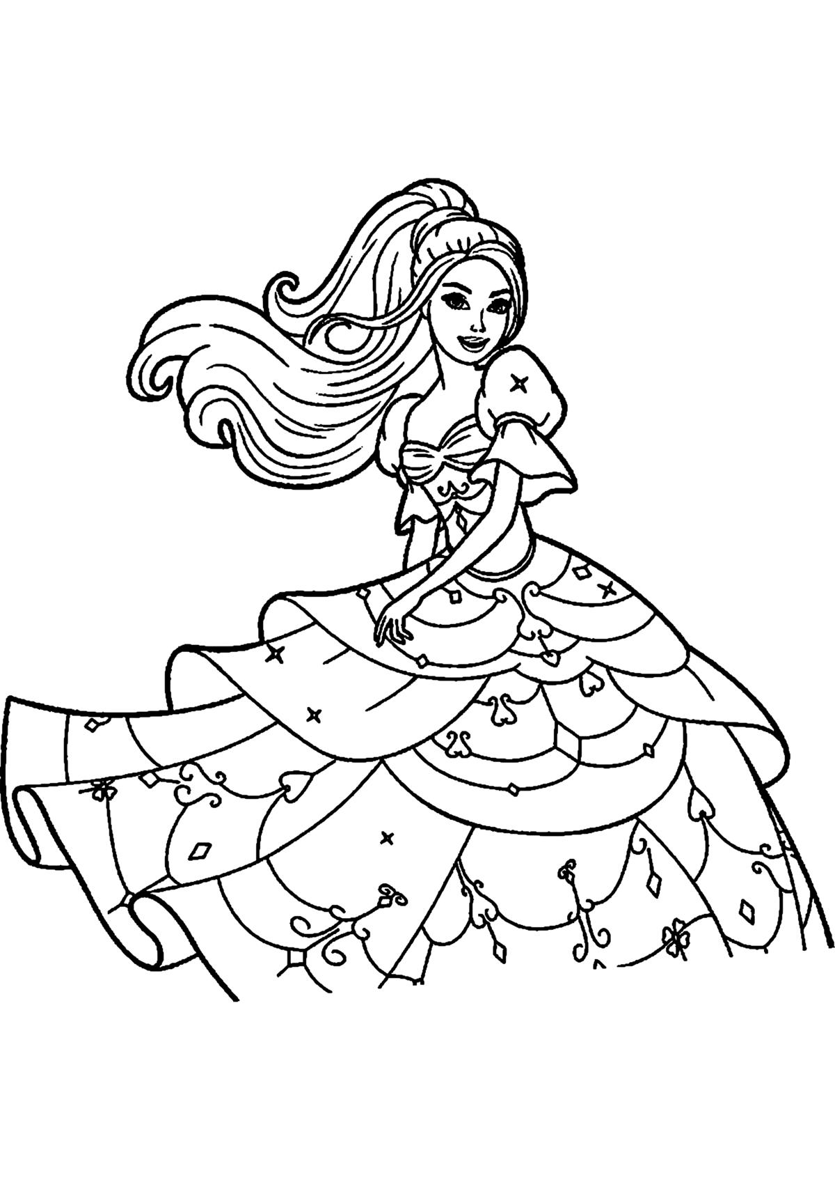 Раскраска Барби Распечатать Бесплатно Формат А4